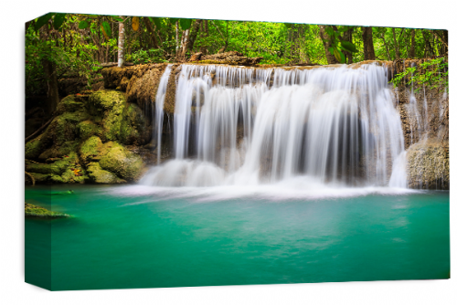 Waterfall Landscape Wall Art Teal Green Grey White Canvas Forrest Picture